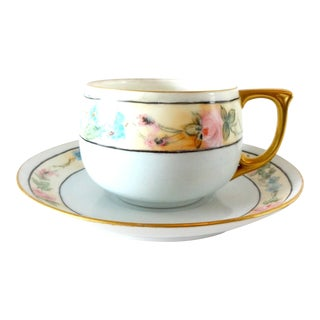Antique 1920s Noritake Pale Blue Forget-Me-Nots and Pink Roses Porcelain Tea Cup and Saucer For Sale