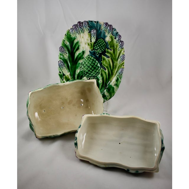 Luneville French Faïence Majolica Asparagus Tureen & Under Tray, 3 pcs. For Sale - Image 9 of 11