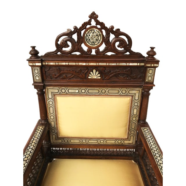 Museum Piece 19th C Middle Eastern Armchair W/Mother Pearl For Sale - Image 9 of 10