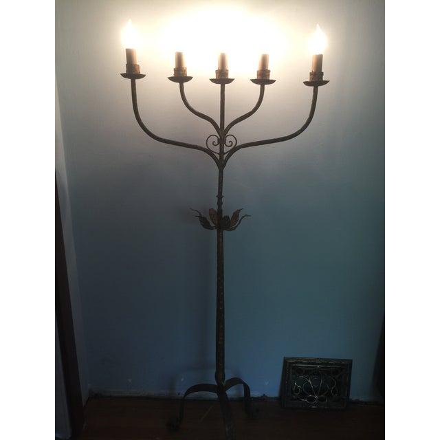 Vintage Gold Gilt Metal Candelabra Five-Light Floor Lamp For Sale - Image 10 of 11