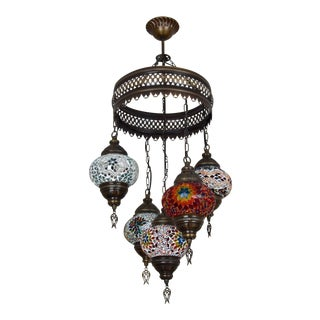 Turkish Handmade Mosaic Glass Multi-Globe Light Fixture