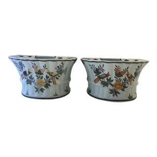 French Hand Made Faiance Bird Jardinieres - a Pair For Sale