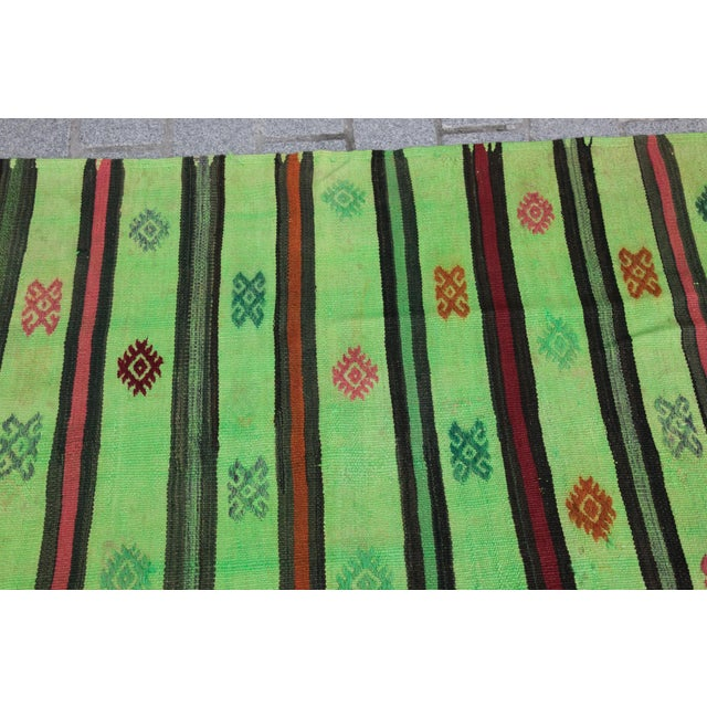 Green Turkish Overdyed Green Color Kilim - 7'4'' x 5'11'' For Sale - Image 8 of 11