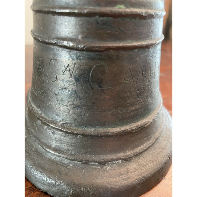 18th Century Italian San Camilo Cast Bronze & Hand Forged Ringing Bell W/ Chain For Sale - Image 10 of 13