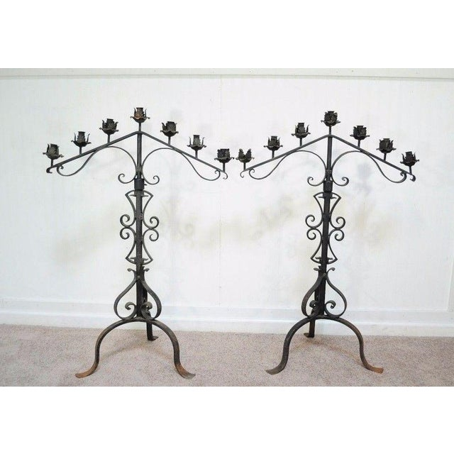 "Arts & Crafts 61"" Pair of Antique Gothic Mission Arts & Crafts Wrought Iron Candelabras Church For Sale - Image 3 of 11"