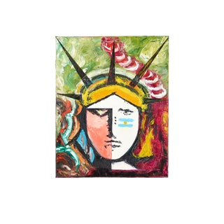 1980s Statue of Liberty Acrylic on Canvas Painting For Sale