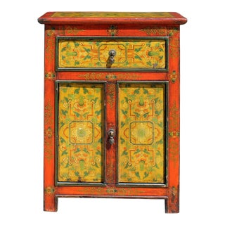 Orange Red Yellow Tibetan Style Floral Pattern End Table Nightstand For Sale