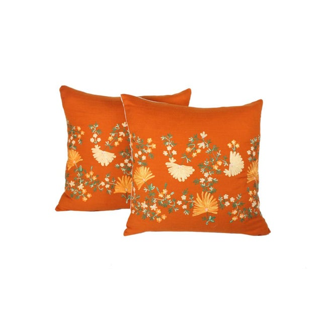 "Custom Made Hand-Embroidered ""Hermes"" Orange Cashmere Pillows - A Pair For Sale In Los Angeles - Image 6 of 6"
