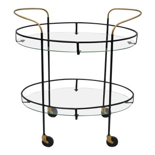 Vintage Metal Iron & Glass Atomic Era Oval Rolling Bar Cart