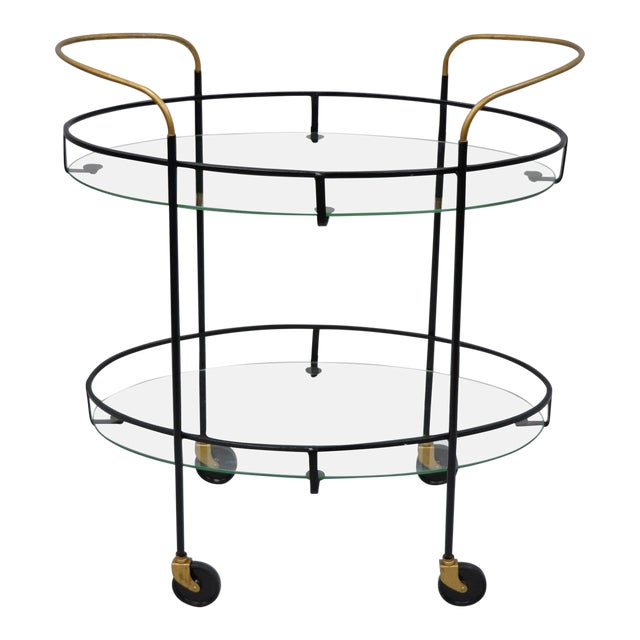 Vintage Metal Iron & Glass Atomic Era Oval Rolling Bar Cart For Sale
