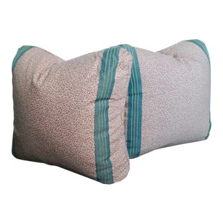 Tilton Fenwick Fabric and Tape Trim Designer Pillows - A Pair