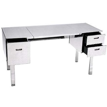 Polished Aluminum Folding Campaign Desk - Image 2 of 4