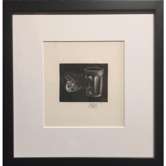 "Mario Avati Bread and Water 1961 Mezzotint Print 3.25""x3"" framed 12""x1.25""x12.5 Signed and dated bottom center Excellent..."