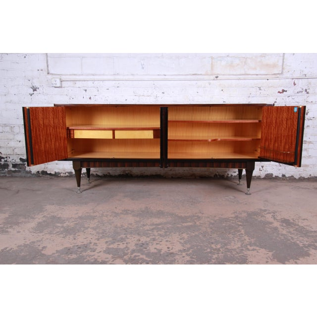 French Art Deco Macassar Ebony Credenza or Bar Cabinet by N.F. Ameublement, 1966 For Sale - Image 10 of 13
