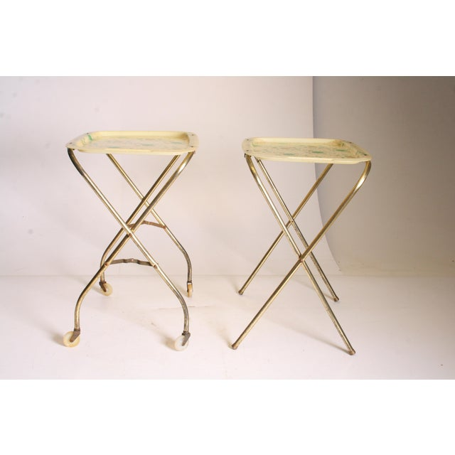 Mid Century Modern Yellow & Green TV Tray Tables - Set of 4 - Image 3 of 11