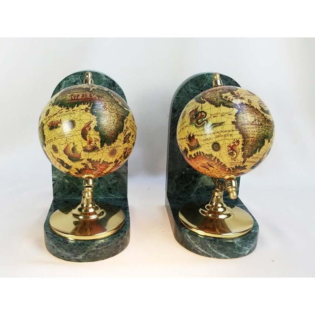 Old World Globe Bookends on Solid Green Marble - A Pair For Sale - Image 4 of 7