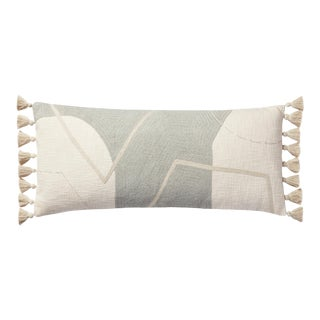 "Loloi Modern Earthy Elongated Accent Pillow with Tassles, Grey / Multi - 13"" x 35"" Cover with Down Pillow For Sale"