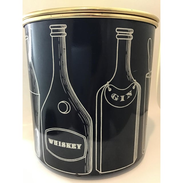 SUPER RARE with the COOLEST graphics. Mid-Century Fornasetti Vintage Ice Bucket Black with crisp, clear graphics that...
