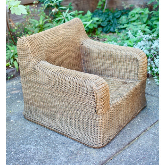 Contemporary 1970s Vintage Sculptural Wicker Armchairs & Ottomans- 4 Pieces For Sale - Image 3 of 12