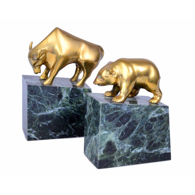 Vintage Brass Bull & Bear Bookends - A Pair For Sale - Image 9 of 10