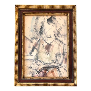 Original Ink Wash Painting Life Study Figure Vintage For Sale