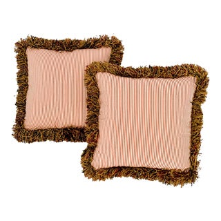 Vintage Pinstriped Pillows With Fringe - a Pair For Sale