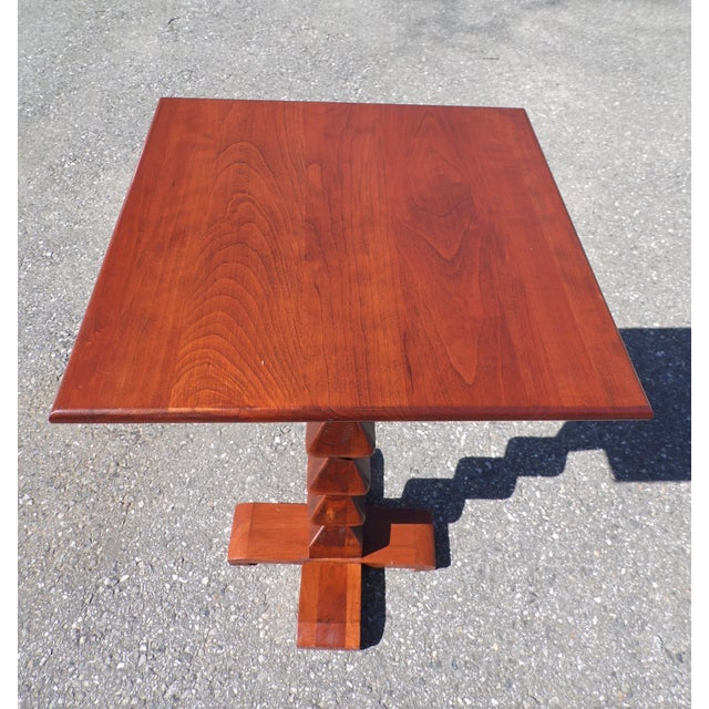 Mid-Century Modern Vintage Ethan Allen American Solid Cherry Square Pedestal End Table Plant Stand For Sale - Image 3 of 11