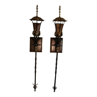 Maitland-Smith Tiger Penshell Inlaid Globes with Brass Floor / Wall Lamps - a Pair