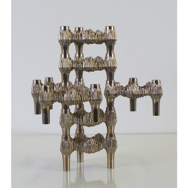 Set of 7 Quist Variomaster stackable Brutalist candleholders designed by Caesar Stoffi for BMF Nagel, Germany 1970s. These...