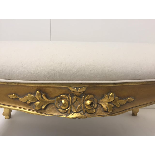 1970s Vintage French Carved Giltwood Bench For Sale In Philadelphia - Image 6 of 8