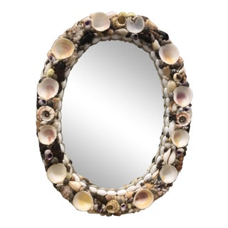 Vintage Natural Shell Encrusted Mirror For Sale