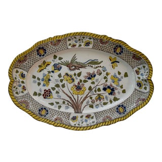 Faience Yellow and Blue Floral Design With Bird Platter For Sale