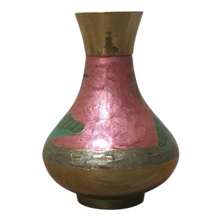 Brass and Eglomise Finish Vase For Sale