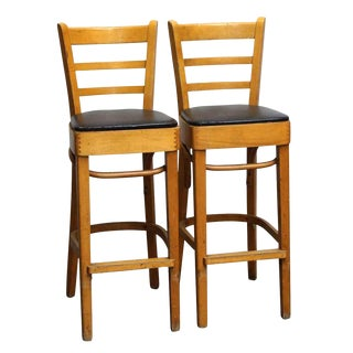 Early 21st Century Vintage Salvaged Wood Bar Stools- A Pair For Sale