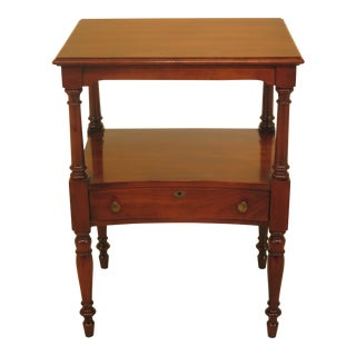1980s Traditional Statton Solid Cherry 1 Drawer Nightstand Table For Sale