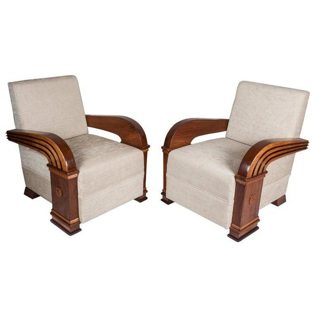 1930s Art Deco Upholstered Teak Loveseat & Chairs Living Room Set - 3 Pc. For Sale - Image 5 of 11