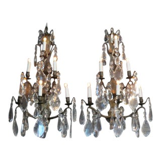 Vintage Large Crystal and Brass French 6 Arm Sconces - a Pair