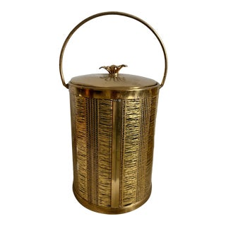 Vintage Textured Gold Metal Ice Bucket W/ Flower Lid For Sale