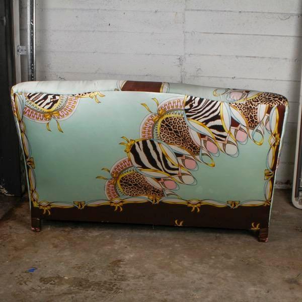 Roberto Cavalli Custom Upholstered Silk Loveseat - Image 3 of 9