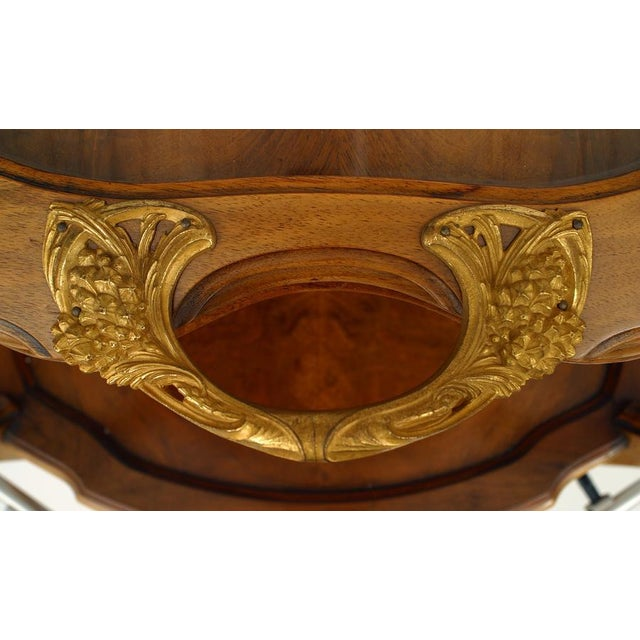 French Art Nouveau walnut tier table with tray top and bronze dore handles