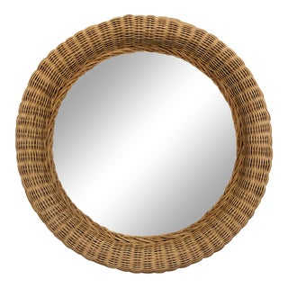 Vintage Natural Wicker Round Circle Mirror