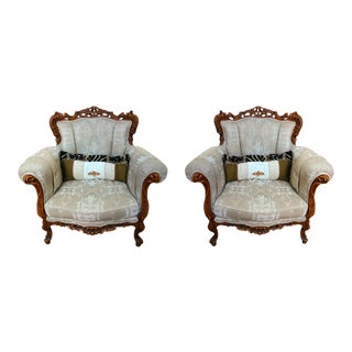Pair of Heavily Carved Wood and Tapestry Chairs For Sale