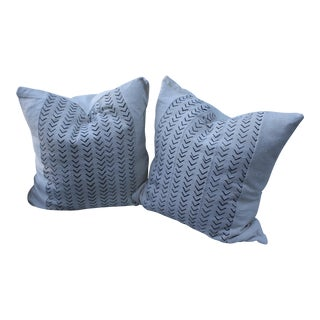 African Mud Cloth Black and White Pillows - A Pair