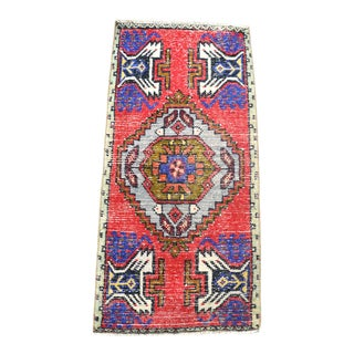 1960 Vintage Oushak Handmade Small Rug For Sale