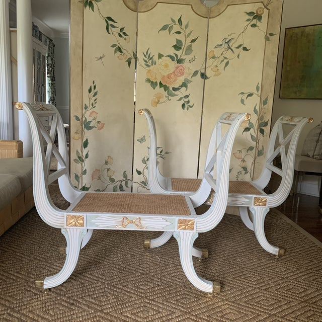 Swedish Blue and Gold Regency Style Cane Benches - a Pair For Sale - Image 9 of 9