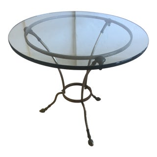 Vintage Round Steel & Brass Maison Jansen Side End Table With Rams Heads For Sale