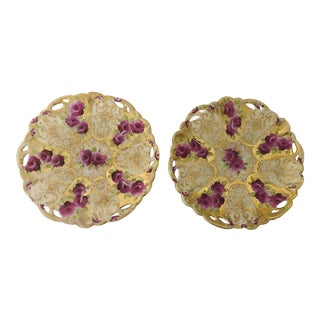 "Vintage Rose Pattern With Gold Beaded Nippon Fine China Set of 2 Plates 6.5""d For Sale"