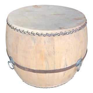 Asian Light Gray Leather Top Drum Table For Sale