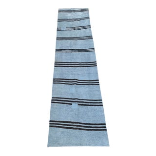 Mid 20th Century Vintage Blue & Brown Stripe Hemp Runner-3′6″ × 9′2″ For Sale