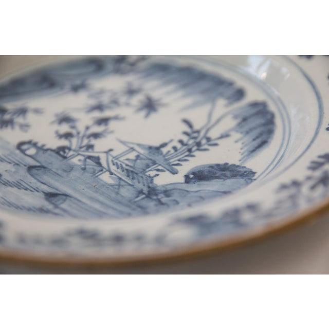 Asian 18th-Century Antique Delft Chinoiserie Plate For Sale - Image 3 of 5